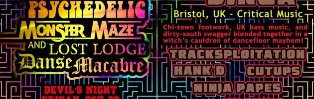 Fri Oct 30th DEVILS NIGHT party w/ SAM BINGA (UK) + Tracksploitation, Hank D, Cutups & Ninja Papes @ Spirit
